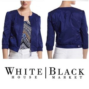 White House Black Market Blue Cropped Jacket 6